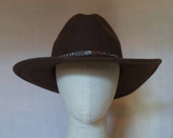 Brown wool western hat made in USA