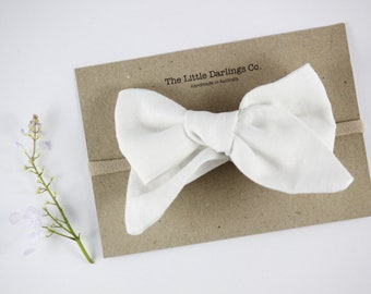 Hand Tied Hair Bow 100% Linen Large Pinwheel in White // Clip or Band