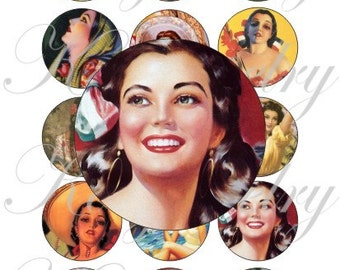 Mexican Calendar girls on a 4x6 bottle caps, pendant, buttons, scrapbook and more Vintage Digital Collage Sheet No.1617