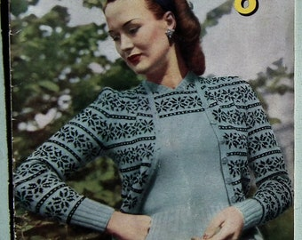 Original Vintage 1940s Knitting Book Stitchcraft Fashions in Fair Isle Women's Twin Set Jumper Sweaters Cardigans Hats Gloves 40s WWII style