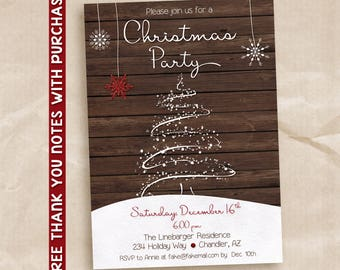 Christmas Party Invitation, Holiday Party Invitation, Rustic christmas party invitation