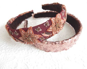 Thin sequin and embroidered headbands, headbands for women, 1.25 inch headbands
