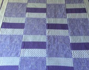 Paris quilt, Effiel tower, baby blanket, baby quilt, Michael Miller fabric, Eiffel tower quilt, purple quilt