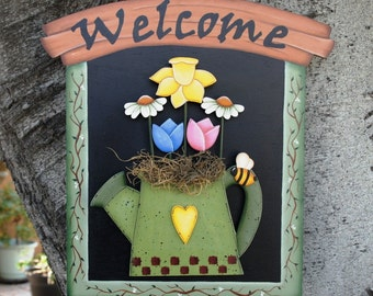 Spring Watering Can for Interchangeable Country Welcome Sign Backboard - Wood Hanging Door or Wall Sign Monthly Set