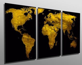 Metal Print Abstract Munsell Purple World Map Panel - Black and gold world map