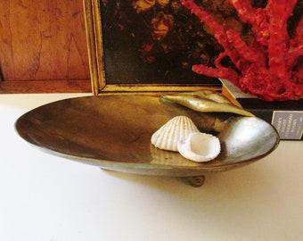 Vintage Brass Hollywood Regency Shell Tray, Brass Card Holder, Brass Soap Dish, Brass Pocket Change, Brass Catchall