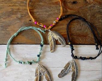 Adjustable feather charm hemp bracelet / adjustable hemp bracelet / hemp jewelry