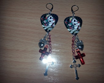 Day of the Dead guitar pick earrings with crosses