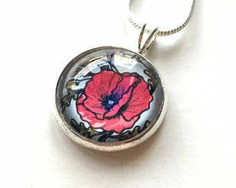 Poppy Flower Necklace - flower jewelry, botanical jewelry, red flower, women necklace, birthday gift, flower girl gift, gift for mom, nature