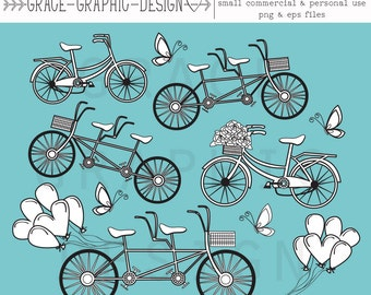 Clipart, Tandem Bicycle Clipart, Bicycle Clipart, Commercial Use Clipart, Digital Illustration, Instant Download Bike Clipart