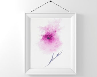 Printable wall art, Abstract flower art, Instant Digital Download, Pink flower art