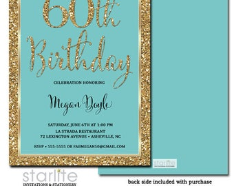 60th Birthday Invitation Turquoise Gold Glitter, 60th Birthday Invitation Aqua Gold, ANY AGE, Printable or Printed Invitations w/ Envelopes