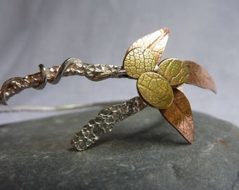 Autumn Leaves Bangle: Handmade Sterling Silver, Copper and Brass