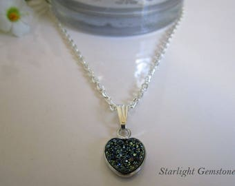 Midnight Blue Gemstone Druzy Heart Pendant on Silver Necklace
