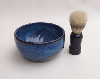 Men's Blue Shaving Bowl- Handmade Pottery-