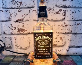 Hand Made Jack Daniels Lamp steampunk copper, bottle lamp, table lamp, vintage, retro, LED gift