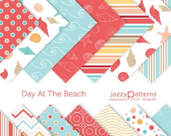 Day At The Beach digital paper pack for scrapbooking DP075 instant download