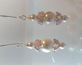 Pearl and Rhinestone Drop Earrings, Wedding Jewelry, Mothers Day, Mom Sister Grandmother Jewelry Gift, Bridesmaid