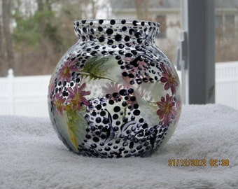 Pink Daisies hand painted on Vase/votive candle holder candle included