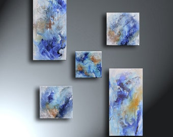Abstract Blue White Tan Set Of Five Paintings Original Artwork Various sizes
