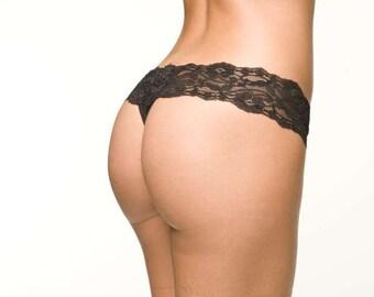 Black Lingerie Panties - Comfortable Lace Waistband Thong Underwear