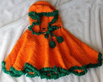 Handmade Crochet Holiday Orange Pumpkin Girls Halloween Poncho OOAK 2T- 5T