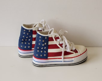 American Flag Sneakers DUFFY Lace up Ankle Boots White Tennis Shoe / Sneakers Size Eur 37 (EUR) 6.5 (US )