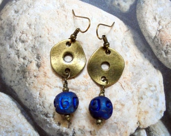 Royal Blue Raku and Brass Ethnic Earrings (2870)