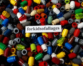 100 Piece Lego Lot: 1x1 Stud Cylinders (Round Bricks) & Cones