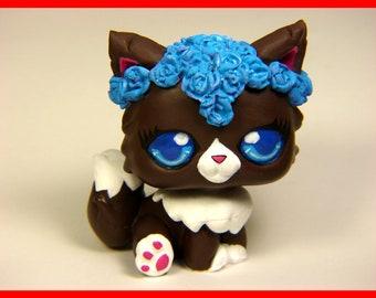 Littlest Pet Shop Chibi cat flower crown ooak custom figure LPS kitty
