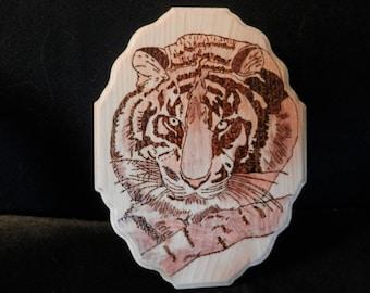 Wood Burned Wall Hanging of Tiger