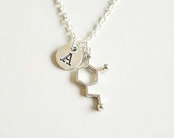 Molecule necklace, Molecular necklace, Dopamine necklace, Chemistry Necklace, Scientist Gift, chemistry gift, Serotonin Charm Necklace, Girl