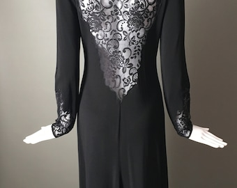 Stunning Vtg 90s BCBG Maxazria Stretchy Lace Dress Amazing Back Longer in Back than Front M Mint Goth Steampunk