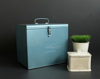 Vintage Metal Box Front Opening Blue Case With Top Handle and Shelves Crafting Workshop Storage