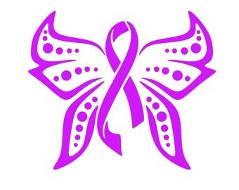 Polka Dot Wing Butterfly Cancer Awareness Vinyl Decal, Breast Cancer Awareness Ribbon, Pink Awareness Ribbon, Remembrance Ribbon