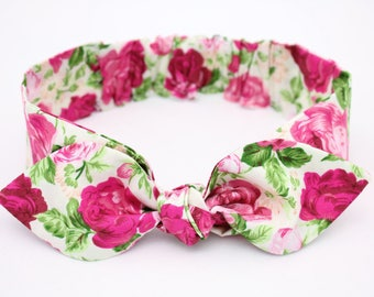 Baby headbands, baby girl headband, rose cotton headband, flower knot headband, cotton headbands,newborn headband,infant headband,hair bows