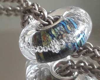 Illuminate bubbles Charm bead Style European Glass Charm Bead - fits big hole bead, european charm bead bracelets, SRA UK