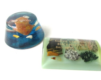 Vintage Acrylic Paperweights - Agate Gemstones and Acrylic Souvenir Paperweights - New Mexico - The Bandlands - Vintage Desk Accessory -