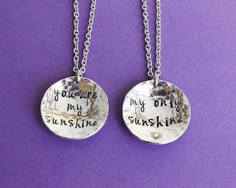Mother Daughter Necklaces - You are my sunshine - My only sunshine - Mother Daughter Set - Daughter Gift - Mother's Day Gift - Gift for Girl