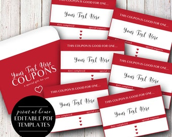 Printable Coupons, Editable Templates, Instant Download, Editable Love Coupons, Love Vouchers, Reward Coupons, Love Tokens, Stocking Stuffer