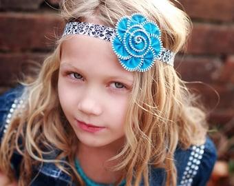 Baby Girl Headbands.Zipper Flower Headband.Zipper Flower.Flower Headband.Baby Headbands.Damask Headband.Unique Headbands.Girls Headbands