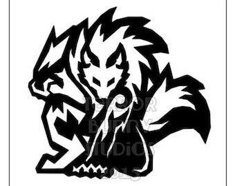 Tribal Werewolf Decal -- Black or White