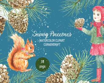 Snowy Pine Cones Watercolor Clipart - pine branches, pine cones in snow red squirrel and little girl, paint splatter for instant download