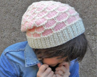 SALE- Pink dreadlocks hat, slouch hat, hippy tam, alternative fashion, goth grunge, honeycomb tam, womens hat, gift for her, Kwirky Knits UK