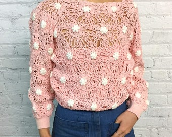 vintage 80's open knit floral sweater / crochet pastel pink flower sweater / pale millennial pink see thru sweater