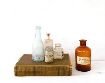 Vintage Bottle Colletion // Antique Medicine Bottle // Vintage Glass Bottles // Curiosity Shop // Bathroom Decor // Instant Collection