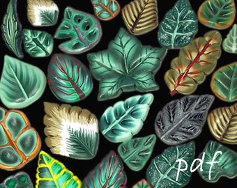 Polymer clay canes tutorial, millefiori tutorial, polymer clay leaves, digital file, instant download