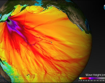 Poster, Many Sizes Available; Wave Height Of The 2011 Tsunami Originating Near Sendai, Japan