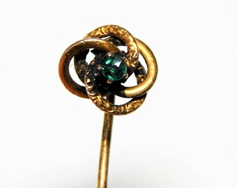 Antique Victorian 14K Gold Love Knot Stick Pin - Victorian 14K StickPin - Green Stone Love Knot Stick Pin - Antique 14K Love Knot Stick Pin
