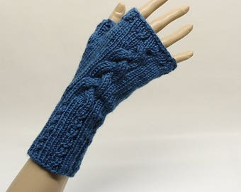 Cabled Fingerless Gloves in Teal Blue  FG008